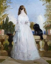 vêtue de blanc et figurée debout, vue de dos by sir edwin henry landseer