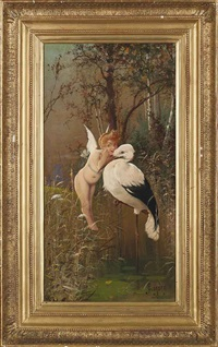 cupid and stork with a windmill in the distance by georges bix