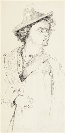 portrait of a tyrolian man study military officer study verso by william merritt chase