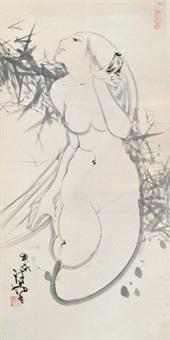 裸体人体 立轴 设色纸本 by lin yong