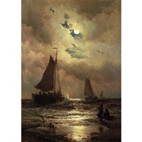 sailboats by moonlight by mauritz frederick hendrick de haas