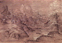 an imaginary landscape with a town set in a river valley by matthys (wellens de cock) cock