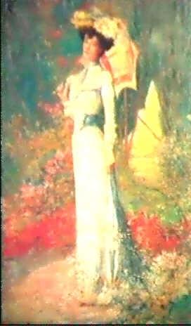 kvinna med parasoll i blommande tradgard by marius ernest joseph azema