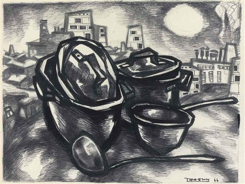 pots and pans and the city by oskar rabin