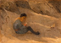 a boy playing on the beach by venny soldan-brofeldt