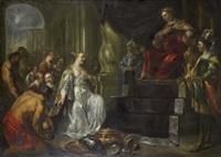 drottningen av saba inför kung salomo by hendrik heerschop