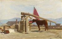 cheval à l'abreuvoir by francois-louis-david bocion