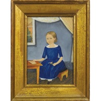 portrait of a little girl with light-brown ringlets, wearing a blue dress, seated at a school desk with open window by henry walton