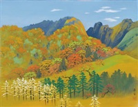mountain landscape in autumn by kibo kodama