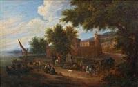 paysage à la fontaine avec des pêcheurs by mathys schoevaerdts