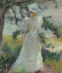 my wife, emeline, in a garden by edmund charles tarbell