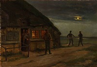 farmerhouse with peasants in moonlight by hans ludvig smidth