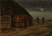 farmerhouse with peasants in moonlight by hans ludvig smidth