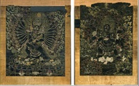 thangkas of shadbhuja mahakala and vajrabhairava (2 works) by anonymous-tibetan (18)