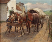 pferdegespann bei der tränke by hermann reisz