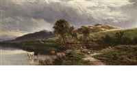 landscape with herdsmen and cattle by sidney richard percy