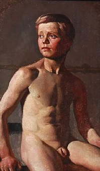 academy study of a nude boy by jörgen roed