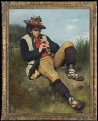 boy playing the flute by tadeusz ajdukiewicz
