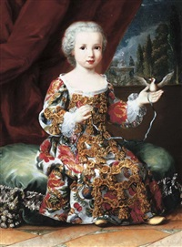 portrait of a child, marie-louise of parma (?), full-length, with a pet bird by sebastiano ceccarini