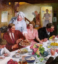group of people at church supper by leland gustavson