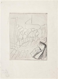 untitled (study) (+ 4 others (studies), engraving; 5 works by dalla husband