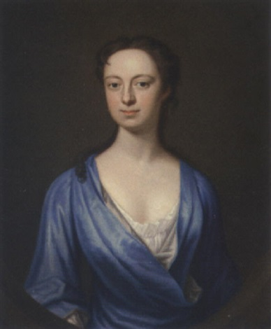 portrait of a lady in a blue dress by james fellowes