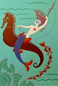 water; earth; fire (3 works) by erté