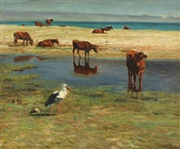 heifers and stork on wet meadow by vilhelm theodor fischer