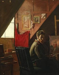 proff. carl thomsen i sit atelier by frants peter didrik henningsen