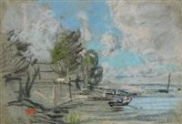 barques, bateaux en bord de riviere by eugène boudin