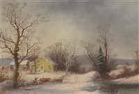 returning to the farm (yellow farmhouse in winter) by george henry durrie