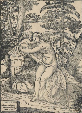 venus and cupid after titian by niccolo boldrini