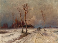 winter landscape by yuliy yulevich (julius) klever