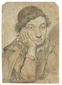 portrait de jeune homme à mi-corps, reposant sa tête sur sa main droite by ippolito leoni
