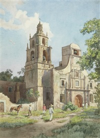 mexicains devant une église by paul gustave fischer