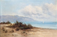 coastal scene with dunes, mountains and a ship at the sea by william langley
