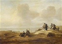 fisherfolk and elegant figures in a dune landscape (scheveningen?), a coastal inlet beyond by jacob esselens