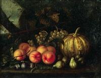 nature morte aux melon, raisins, pêches et figues sur un entablement by tommaso realfonso