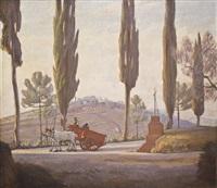 il carro rosso - campagna toscana by pietro d' achiardi