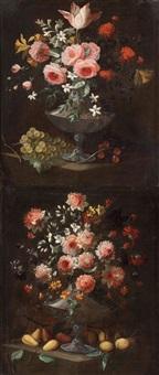 pareja de floreros y frutas by jacobus van der hagen