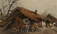 country scene, woman with horses and hay wagon in front of barn by gyorgy nemeth