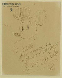 a rare drawing by walt disney of mickey mouse by walt disney