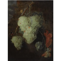 still life of white grapes, together with a garden snail and a red admiral by thomas mertens