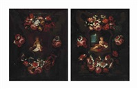 the christ child surrounded by a sculpted cartouche decorated with flowers; and the infant john the baptist surrounded by a floral cartouche (pair) by jan van kessel