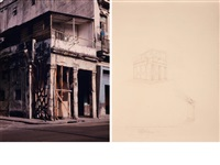 mi verdadera nocional de monumento (+ another, pencil on paper; 2 works) by carlos garaicoa