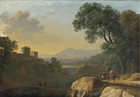 an italianate river landscape with travellers on a path, a town beyond by herman van swanevelt
