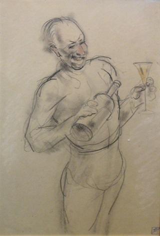 homme debout, se servant à boire by armand rassenfosse
