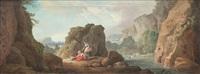 paysage de rivière animé and obélisque avec des personnages autour d'un brasero (pair) by hubert robert