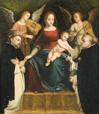 la vierge et l'enfant en trône entre deux anges musiciens, saint pierre martyr et saint thomas d'aquin by bernardino lanino