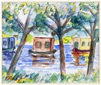 boats on the river by donald bain